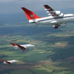 BAe 146 and BAe 125 aircraft from 32 (the Royal) Squadron based at RAF Northolt, Middlesex. Pictured practising their formation for the Queens Jubilee Flypast due to take place over Buckingham Palace on the 4 June 2002, The Flypast was led by a C17 of 99 sqn.